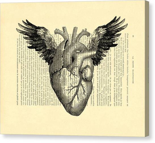 Wedding Gift Canvas Print - Heart With Wings by Madame Memento
