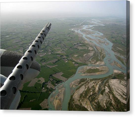 Helmand River Valley From The Air Canvas Print