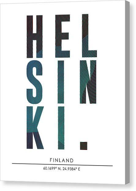 Helsinki, Finland - City Name Typography - Minimalist City Posters Canvas Print