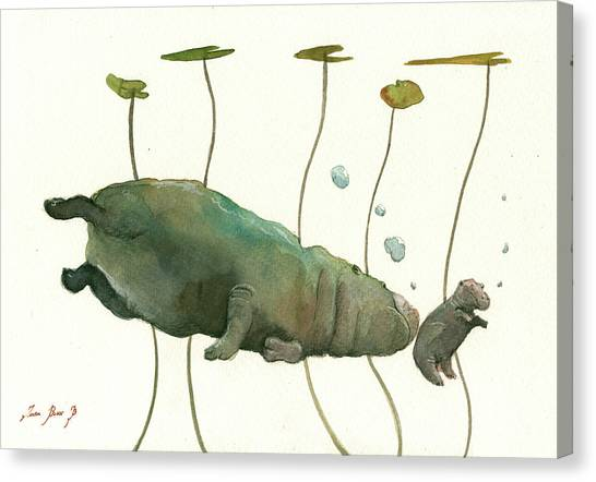 Hippos Canvas Print - Hippo Mom With Baby by Juan Bosco