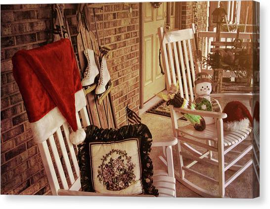 Holiday Porch Decorated Canvas Print by JAMART Photography