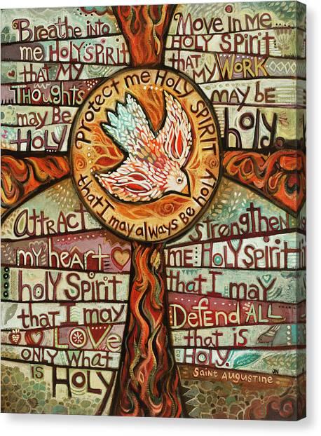 Breathe Canvas Print - Holy Spirit Prayer By St. Augustine by Jen Norton