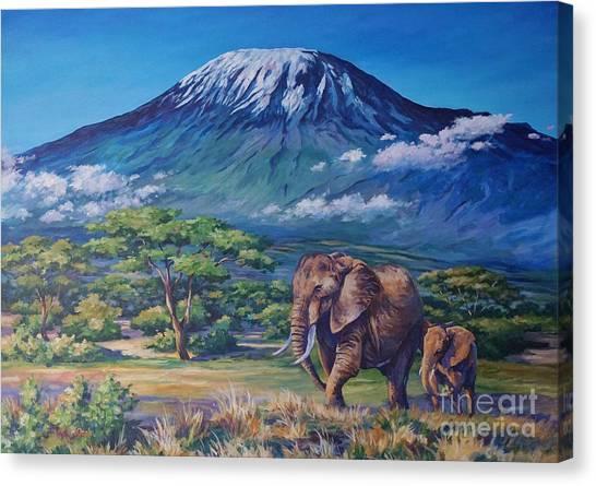 Mount Kilimanjaro Canvas Print - Homeward Bound by John Clark