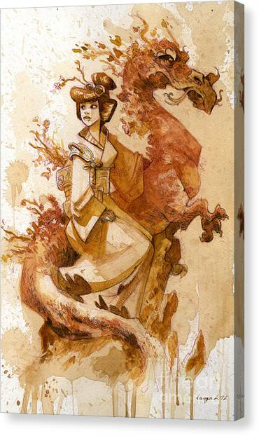 Dragons Canvas Print - Honor And Grace by Brian Kesinger