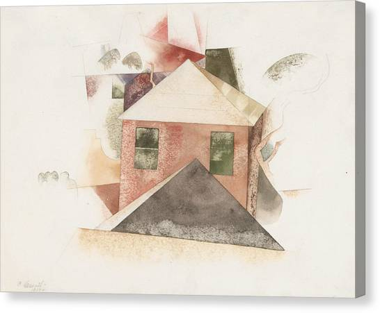 Precisionism Canvas Print - Houses With Red by Charles Demuth