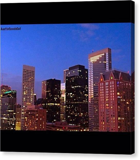 Houston Skyline Canvas Print - #houston #skyline At Dusk. #night by Austin Tuxedo Cat