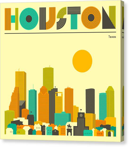Houston Canvas Print - Houston Skyline by Jazzberry Blue