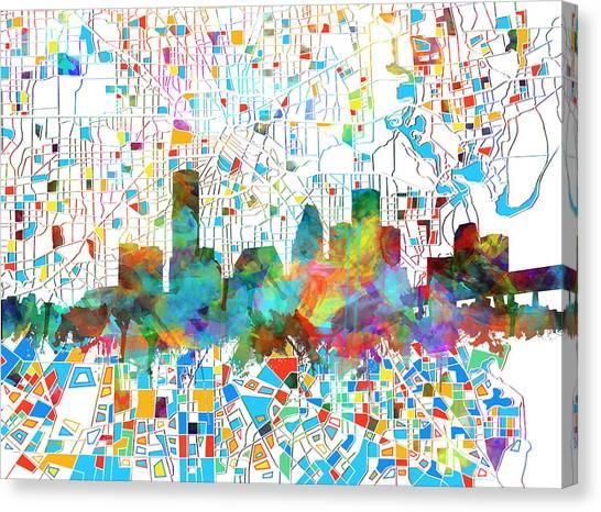 Houston Skyline Canvas Print - Houston Skyline Watercolor 5 by Bekim Art