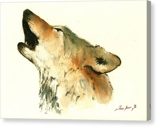 Howling Wolves Canvas Print - Howling Wolf by Juan  Bosco