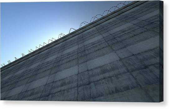 Border Wall Canvas Print - Huge High Security Wall by Allan Swart