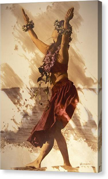 Hula On The Beach Canvas Print