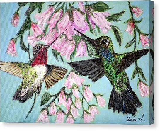 Hummingbirds Canvas Print by Ann Ingham
