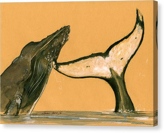 Whales Canvas Print - Humpback Whale Painting by Juan  Bosco