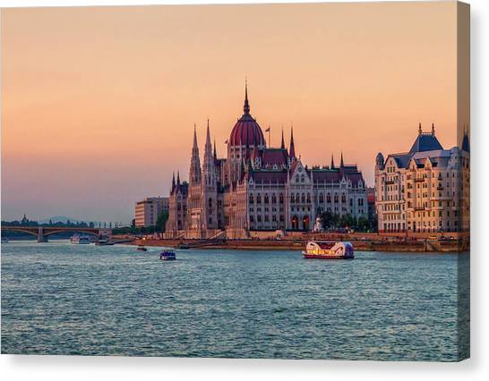 Hungarian Parliament Building In Budapest, Hungary Canvas Print