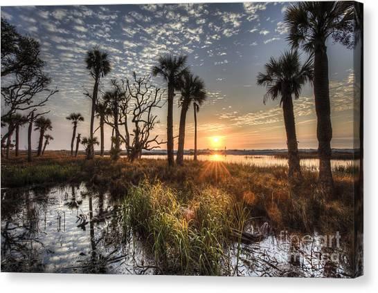 Ocean Sunrises Canvas Print - Hunting Island State Park Beach Sunrise by Dustin K Ryan