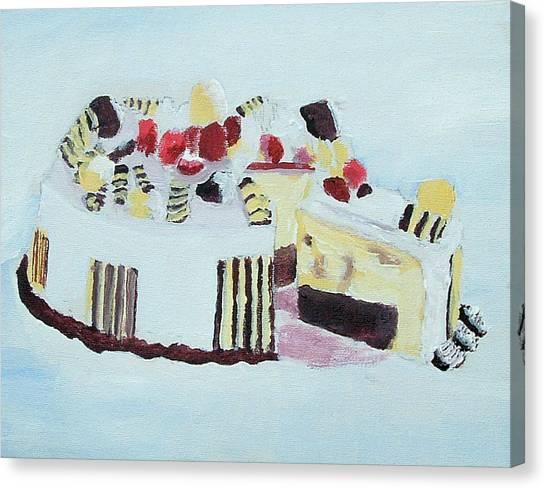 Ice Cream Cake Oil On Canvas Canvas Print