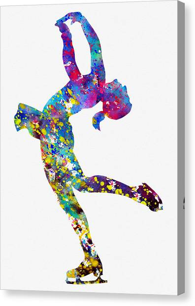 Figure Skating Canvas Print - Ice Skating Girl-colorful by Erzebet S