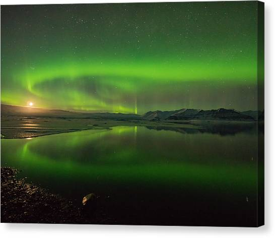 Vatnajokull Glacier Canvas Print - Iceland Aurora Reflection by Dan Leffel