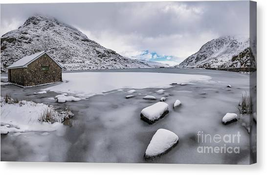 Tryfan Mountain Canvas Print - Icy Lake Snowdonia by Adrian Evans