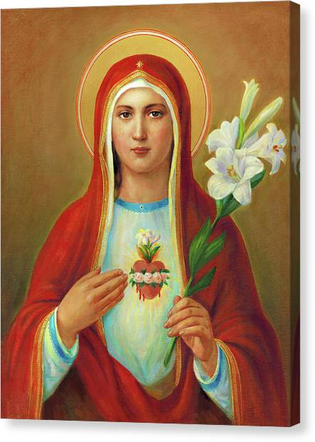 Saints Canvas Print - Immaculate Heart Of Mary by Svitozar Nenyuk