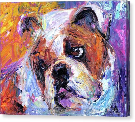 Impressionistic Bulldog Painting  Canvas Print