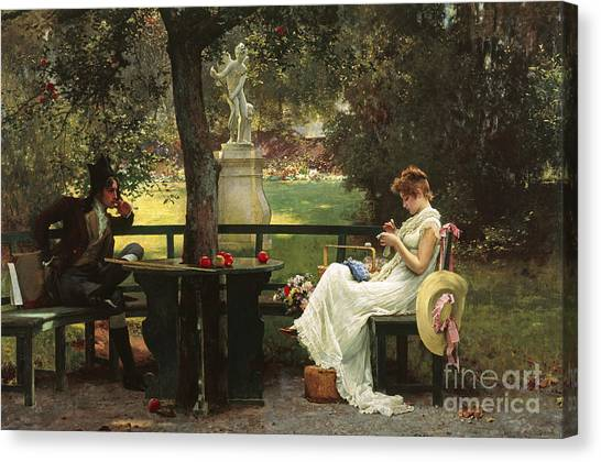 Oil On Canvas Print - In Love by Marcus Stone