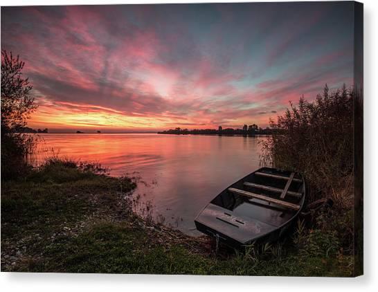Lake Sunrises Canvas Print - In Safe Harbor by Davorin Mance