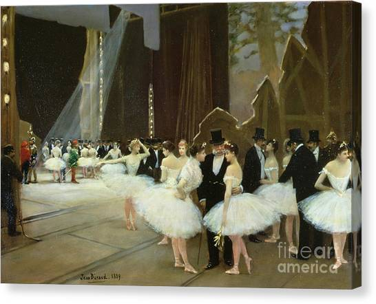 Behind The Scenes Canvas Print - In The Wings At The Opera House by Jean Beraud