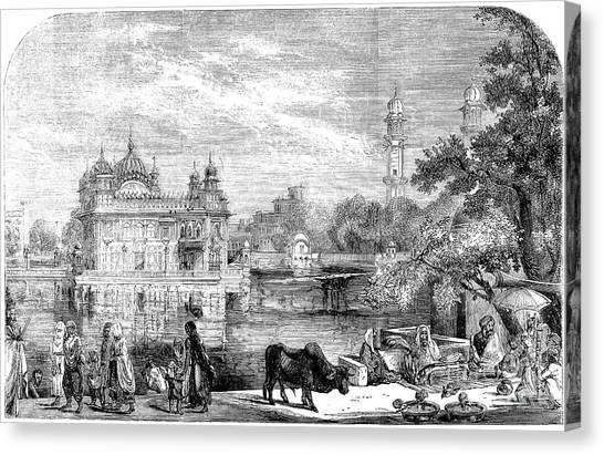 Sikhism Canvas Print - India: Golden Temple, 1858 by Granger