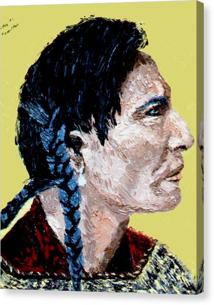 Indian Side Profile Canvas Print by Stan Hamilton