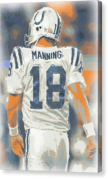 Indianapolis Colts Canvas Print - Indianapolis Colts Peyton Manning by Joe Hamilton