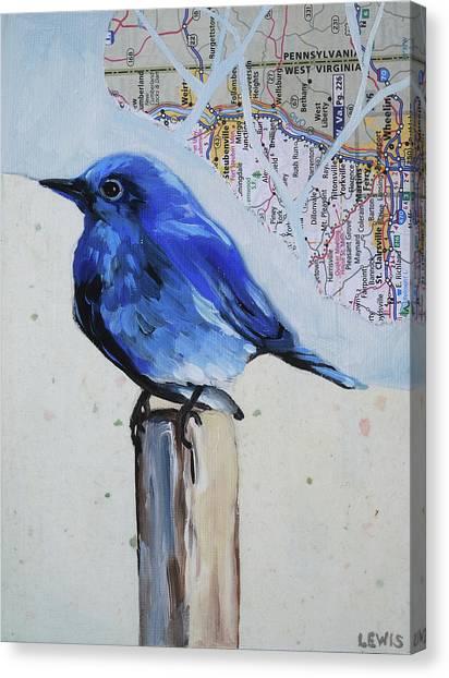 Blue Bird Canvas Print by Anne Lewis