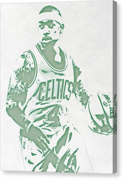 Boston Celtics Canvas Print - Isaiah Thomas Boston Celtics Pixel Art by Joe Hamilton