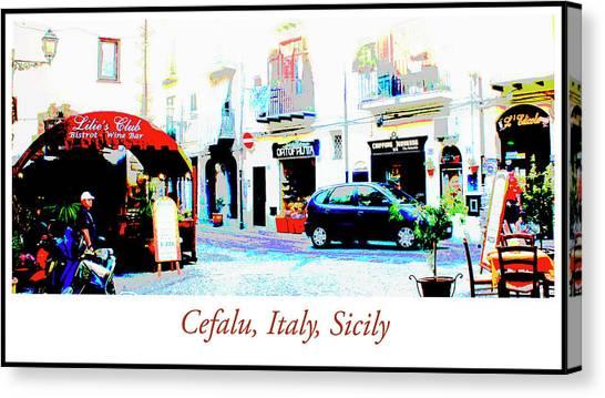 Italian City Street Scene Digital Art Canvas Print