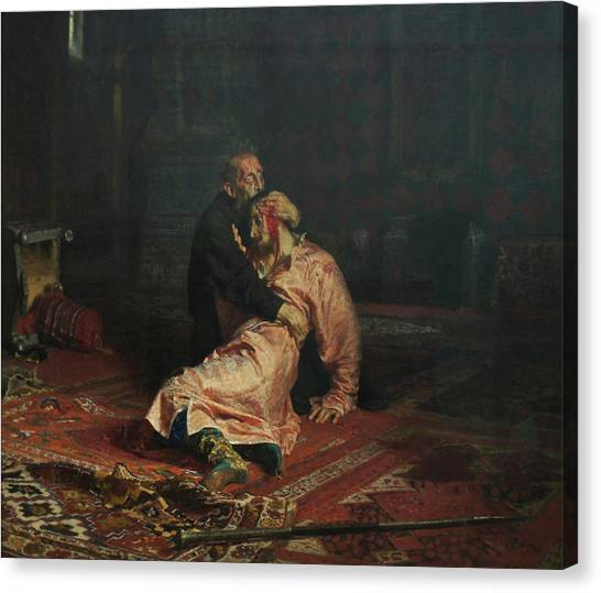 Ivan The Terrible And His Son Ivan On November 16, 1581 Canvas Print by Ilya Repin
