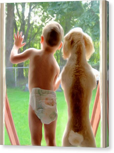 Jack And Buddy Canvas Print by Russell Michael