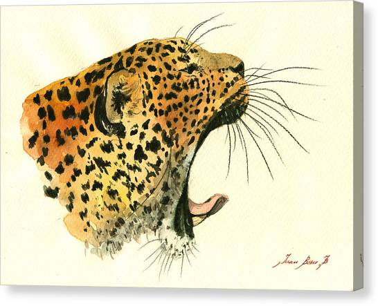 Leopard Canvas Print - Jaguar Head Painting Watercolor by Juan  Bosco