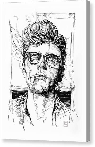 James Dean Canvas Print - James Dean Inking by Garth Glazier