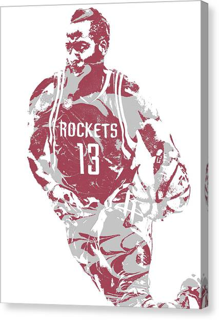 Houston Rockets Canvas Print - James Harden Houston Rockets Pixel Art 22 by Joe Hamilton