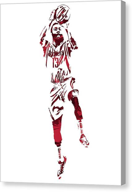 Houston Rockets Canvas Print - James Harden Houston Rockets Pixel Art 5 by Joe Hamilton