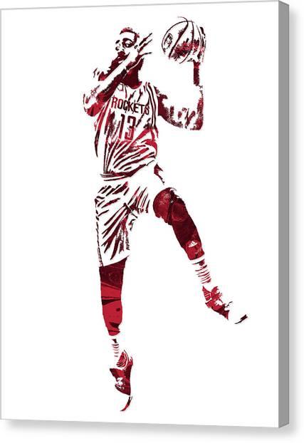 Houston Rockets Canvas Print - James Harden Houston Rockets Pixel Art 6 by Joe Hamilton