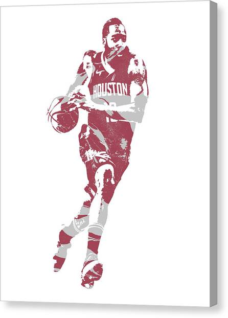 Houston Rockets Canvas Print - James Harden Houston Rockets Pixel Art 60 by Joe Hamilton