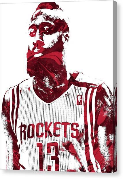 Houston Rockets Canvas Print - James Harden Houston Rockets Pixel Art  by Joe Hamilton