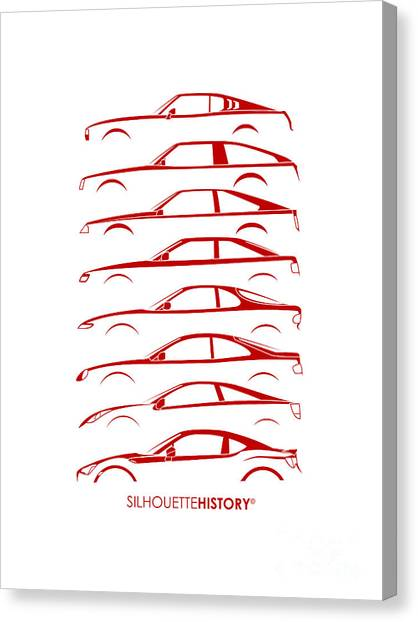 Toyota Canvas Print - Japanese Coupe Silhouettehistory by Gabor Vida