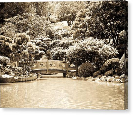 Japanese Hill And Pond Garden New York Canvas Print