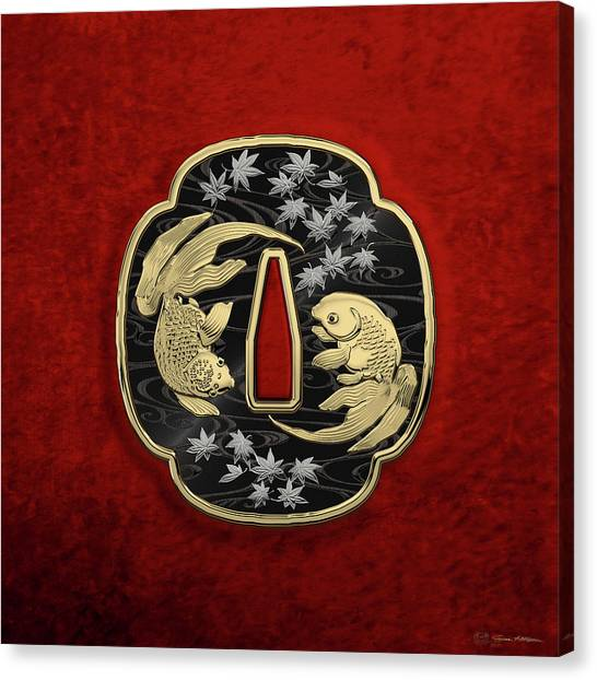 Gold Canvas Print - Japanese Katana Tsuba - Twin Gold Fish On Black Steel Over Red Velvet by Serge Averbukh