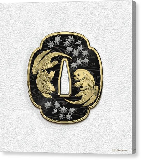 Fish Canvas Print - Japanese Katana Tsuba - Twin Gold Fish On Black Steel Over White Leather by Serge Averbukh