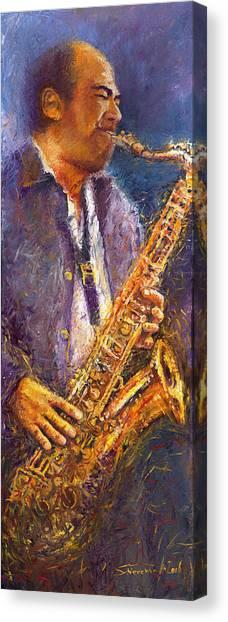 Jazz Canvas Print - Jazz Saxophonist by Yuriy Shevchuk