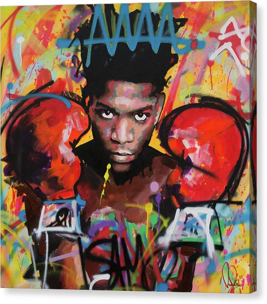 Andy Warhol Canvas Print - Jean Michel Basquiat by Richard Day