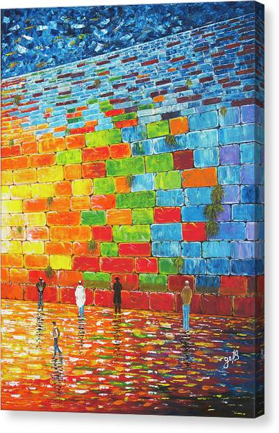 Canvas Print featuring the painting Jerusalem Wailing Wall Original Acrylic Palette Knife Painting by Georgeta Blanaru